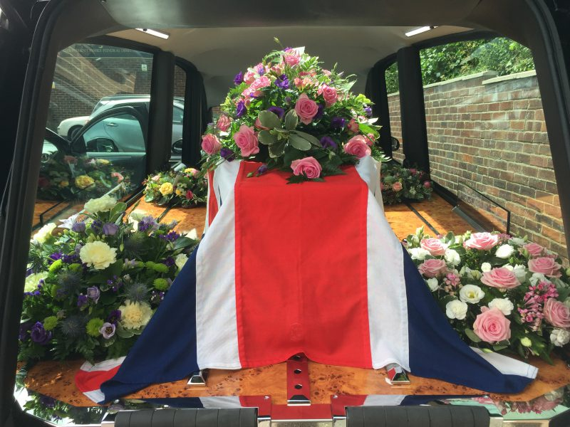 Coffin in S & J Maddocks Hearse